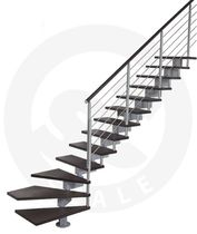 quarter-turn staircase with a central stringer (metal frame and wood steps) DIESIS St Scale