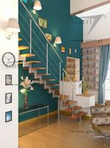 quarter-turn staircase with a central stringer (metal frame and wood steps) ANTEK GROT