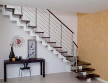 quarter-turn staircase with a central stringer (metal frame and wood steps) GERANIO A - SPECIAL New Living srl