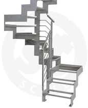 quarter-turn staircase with a lateral stringer (metal frame and glass steps) PROXIMA BOX St Scale
