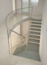 quarter-turn staircase with a lateral stringer (metal frame and glass steps) TIGA BLAS Q6042 SPIRAL Stairs