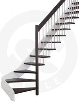 quarter-turn staircase with a lateral stringer (metal frame and wood steps) FREEFORM St Scale