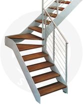 quarter-turn staircase with a lateral stringer (metal frame and wood steps) PROXIMA F St Scale