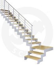 quarter-turn staircase with a lateral stringer (metal frame and wood steps) PROXIMA S St Scale