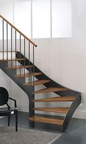 quarter-turn staircase with a lateral stringer (metal frame and wood steps) PROXIMA ECHO St Scale