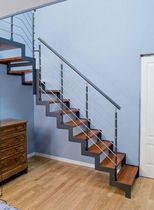 quarter-turn staircase with a lateral stringer (metal frame and wood steps) IBISCO G New Living srl