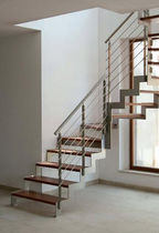 quarter-turn staircase with a lateral stringer (metal frame and wood steps) IBISCO Y - SPECIAL New Living srl