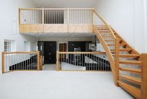 quarter-turn staircase with a lateral stringer (wooden frame and steps) MODEL 500 Interbau
