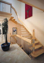 quarter-turn staircase with a lateral stringer (wooden frame and steps) HGM 350 Schmidt Escaliers