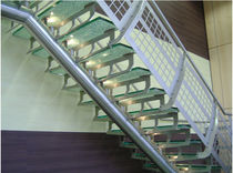 quarter-turn staircase with a central stringer (metal frame and glass steps)  Canal Engineering Ltd