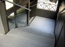 quarter-turn staircase with a lateral stringer for commercial buildings (metal frame and steps) ACHERUSIO PARK by Massimo Menichini  ALUSCALAE