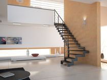 quarter-turn staircase with a lateral stringer (metal frame and wood steps) LINK CAST SCALE
