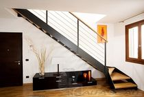 quarter-turn staircase with a lateral stringer (metal frame and wood steps) ELITE LINE  Alfa Scale