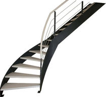 quarter-turn staircase with a lateral stringer (metal frame and wood steps) IBISCO C - FASCIA New Living srl