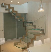 quarter-turn staircase with a lateral stringer (stainless steel frame and glass steps) IVANO GC TRADE
