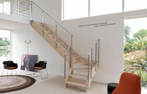 quarter-turn staircase with a lateral stringer (wooden frame and steps) STYLE  novalinea spa