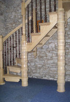 quarter-turn staircase with a lateral stringer (wooden frame and steps) W/66/1 Cast Spiral Stairs