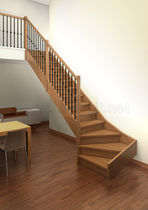 quarter-turn staircase with a lateral stringer (wooden frame and steps) ARIS H1-C (PLUS) IDEALKIT