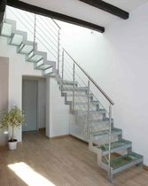 quarter-turn staircase with a lateral stringer (metal frame and glass steps) GOMERA VETRO 2 essegi scale