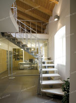 quarter-turn staircase with modular central modular stringer (metal frame and wood steps) MODEN Alfa Scale