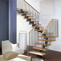 quarter-turn staircase with modular central modular stringer (metal frame and wood steps) FLEXIA novalinea spa