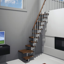 quarter-turn staircase with modular central modular stringer (metal frame and wood steps, for small space) MINI MisterSTEP