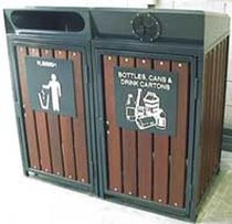 recycling bin for waste separation for public spaces SLOPPED COVERS Draffin