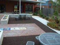 rubber mulch floor for public spaces BONDED RUBBER MULCH: COURT YARD  No Fault