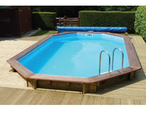 semi-inground wooden swimming pool PREMIUM Plastica