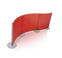 small office partition FLUOWALL RED CURVED PAXTON