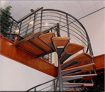 spiral staircase for commercial buildings (metal frame and wooden steps) BISHOPS STORFORD Crescent Stairs