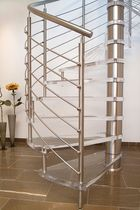 spiral staircase (stainless steel frame and glass steps)  Interbau