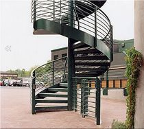 spiral staircase with a lateral stringer for commercial buildings (metal frame and steps) WIMBLEDON Crescent Stairs