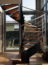 spiral staircase with a lateral stringer (metal frame and wooden steps) PANAREA essegi scale