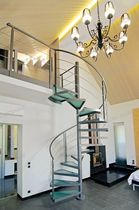 spiral staircase (metal frame and glass steps) STYLE GLASS Alfa Scale
