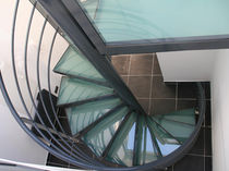 spiral staircase (metal frame and glass steps) CLASSICA OPALE Miroiterie RIGHETTI