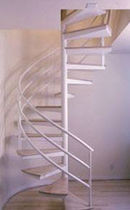 spiral staircase (metal frame and wooden steps) 52S COMBO STAIRWAYS inc