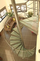 spiral staircase (stainless steel frame and glass steps) CLASSICA CRASH Miroiterie RIGHETTI