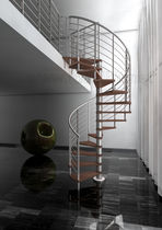 spiral staircase (stainless steel frame and wood steps) INOX IDEALKIT