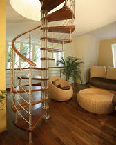 spiral staircase (stainless steel frame and wood steps)  Kevala Stairs Limited