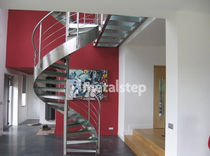 spiral staircase with a lateral stringer (metal frame and glass steps) SHERPA metalstep
