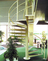 spiral staircase with a lateral stringer (metal frame and steps) LANDROVER SHOWROOM FIRE ESCAPES