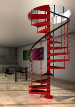 spiral staircase with a lateral stringer (metal frame and steps) AKUA H3 IDEALKIT