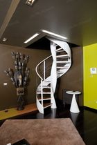spiral staircase with a lateral stringer (metal frame and wooden steps) ELICA WOOD Alfa Scale