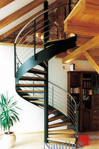 spiral staircase with a lateral stringer (metal frame and wooden steps)  Nautilus