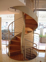 spiral staircase with a lateral stringer (metal frame and wooden steps) PORTOVENERE Linea Scale