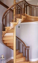 spiral staircase with a lateral stringer (wooden frame and steps) 60 WS COMBO STAIRWAYS inc