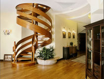 spiral staircase with a lateral stringer (wooden frame and steps) RIBBON: MS-4 Marchewka