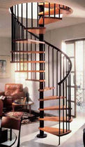 spiral staircase (wooden frame and steps) GAMIA Stair Plan