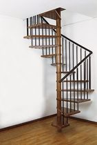 square spiral staircase (metal frame and wooden steps) T4 St Scale